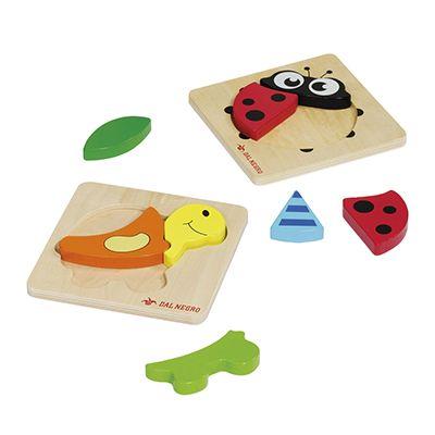 Baby puzzle in legno tartaruga e coccinella DAL NEGRO