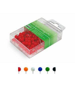 Scatola 100 spilli cartografici a sfera rosso art.266 266-R 8007509002667 266-R_26011 by Esselte