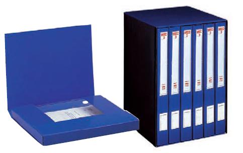 Gruppo registratori mec 3 terzetto blu c/cartellette 23x32cm, dorso 15 cm 00018604_29435 by King Mec