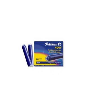 Scatola 6 cartucce inchiostro tp/6 blu royal pelikan 4001 (0atm01) OATM01_30116
