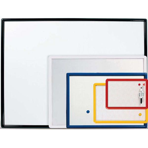 PRO.Tec Lavagna Magnetica Bianca con Supporto Scorrevole di Portapennarelli Bordi in Alluminio 45 x 35 cm