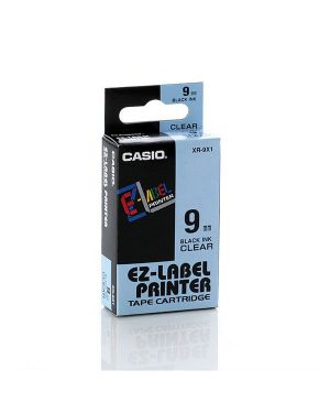 Nastro casio 9mm x 8mt nero su trasparente XR-9X 4971850117414 XR-9X_37083 by Casio