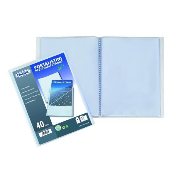 Favorit 100460288 Portalistino con 50 Buste Formato Interno 22x30 cm Blu