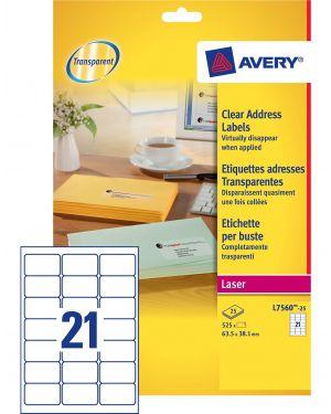 Poliestere adesivo l7560 trasparente 25fg a4 63,5x38,1mm (21et - fg) laser avery L7560-25 5014702177767 L7560-25_45199 by Avery
