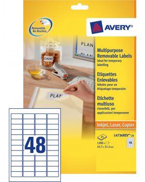 Etichetta adesiva l4736rev bianca rimovibili 25fg a4 45,7x21,2mm (48et - fg) laser L4736REV-25 5014702106378 L4736REV-25_45215 by Avery
