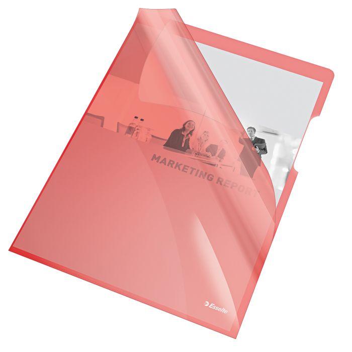 25 cartelline a l 21x29,7 pvc liscia cristallo rosso esselte 55433 5902812554335 55433_45798 by Esselte