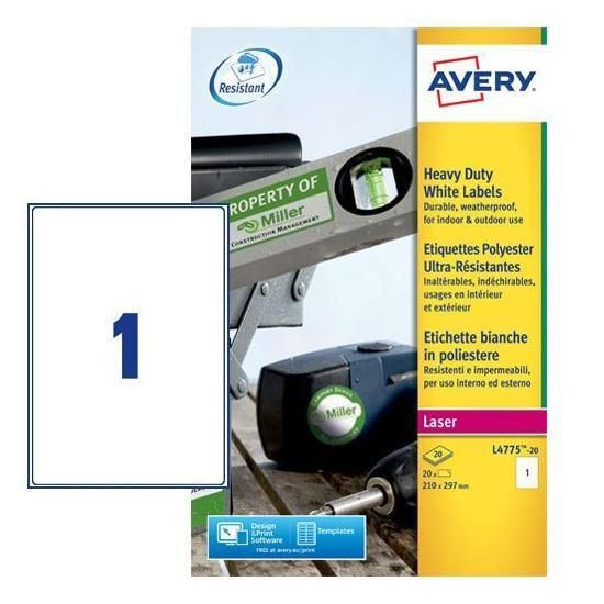 Poliestere adesivo l4775 bianco 20fg a4 210x297mm (1et - fg) laser avery L4775-20 5014702109225 L4775-20_47693 by Avery