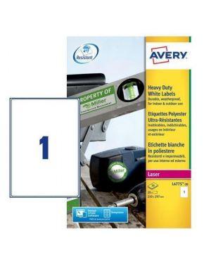 Poliestere adesivo l4775 bianco 20fg a4 210x297mm (1et - fg) laser avery L4775-20 5014702109225 L4775-20_47693