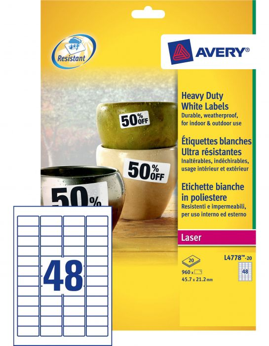 Poliestere adesivo l4778 bianco 20fg a4 45,7x21,2mm (48et - fg) laser avery L4778-20 5014702109249 L4778-20_47695 by Avery