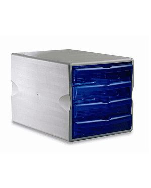 Cassettiera modula 4 big blu trasp. art.24050 leonardi 24050TB 8015687004069 24050TB_48084 by Esselte