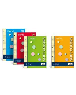 Ricambi forati a4 80gr 100fg 1rigo soft colors 5 colori favini A47X674 8007057235722 A47X674_50003 by Favini