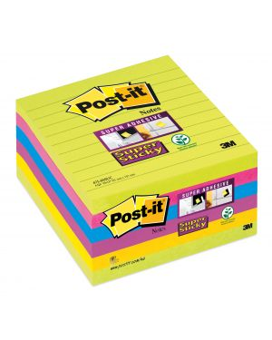 Blocco 90foglietti post-it®super sticky 100x100mm righe ultracolor 675-6succ 27015 53555 A 27015_53555 by Post-it