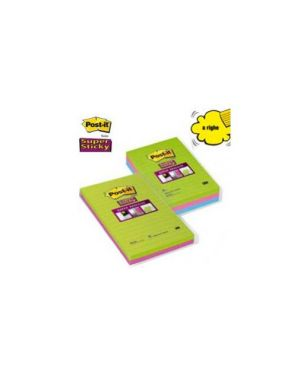 Blocco 45foglietti post-it®super sticky 127x203mm righe ultracolor 845-4succ Confezione da 4 pezzi 73311_53556 by Esselte