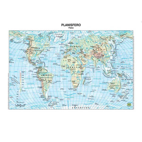 Cartina Geografica Del Mondo Fisica.Carta Geografica Scolastica Plastificata Mondo
