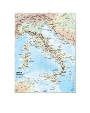 Carta geografica scolastica plastificata italia 297x420mm belletti BS01P 56945A BS01P_56945 by Belletti