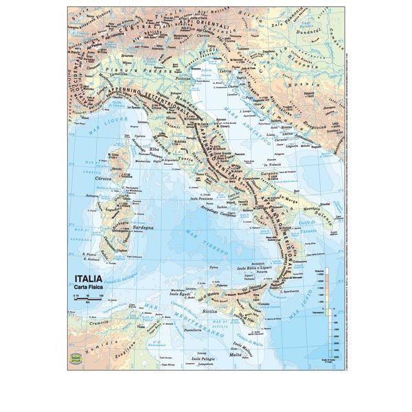 Cartina Politica Italia Formato A3.Carta Geografica Scolastica Plastificata Italia
