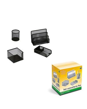 Set scrivania 4 accessori in rete metallica nero 1424 lebez 1424-N 8007509026335 1424-N_58001 by Lebez