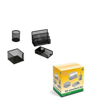 Set scrivania 4 accessori in rete metallica nero 1424 lebez 1424-N 8007509026335 1424-N_58001
