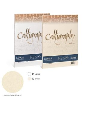 Carta calligraphy canvas 200gr a4 50fg bianco 01 favini A690314 8007057617030 A690314_61555 by No