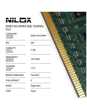 Ram ddr3 so-dimm 2gb 1333mhz cl9 Nilox NXS21333H1C9 5050914920012 NXS21333H1C9 by No