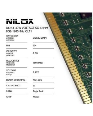 Ram ddr3l so-dimm 8gb 1600mhz cl11 Nilox NXS8L1600M1C11 5050914986537 NXS8L1600M1C11 by No