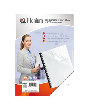 100 copertine a3 pvc trasparente 180my titanium PVC118-3SL 8025133034267 PVC118-3SL_68460 by Titanium