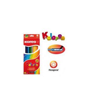 12 pastelli colorati kolores esagonali c/temperamatite kores 96312_K96312
