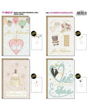 Biglietto matrimonio cuori, fiori e torta con sposi 4 soggetti ass KARTOS 17984201 8009162327675 17984201