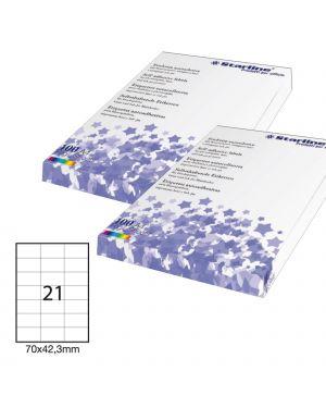 Etichetta adesiva bianca 100fg a4 70x42,3mm (21et/fg) starline STL3025_STL3025 by Esselte