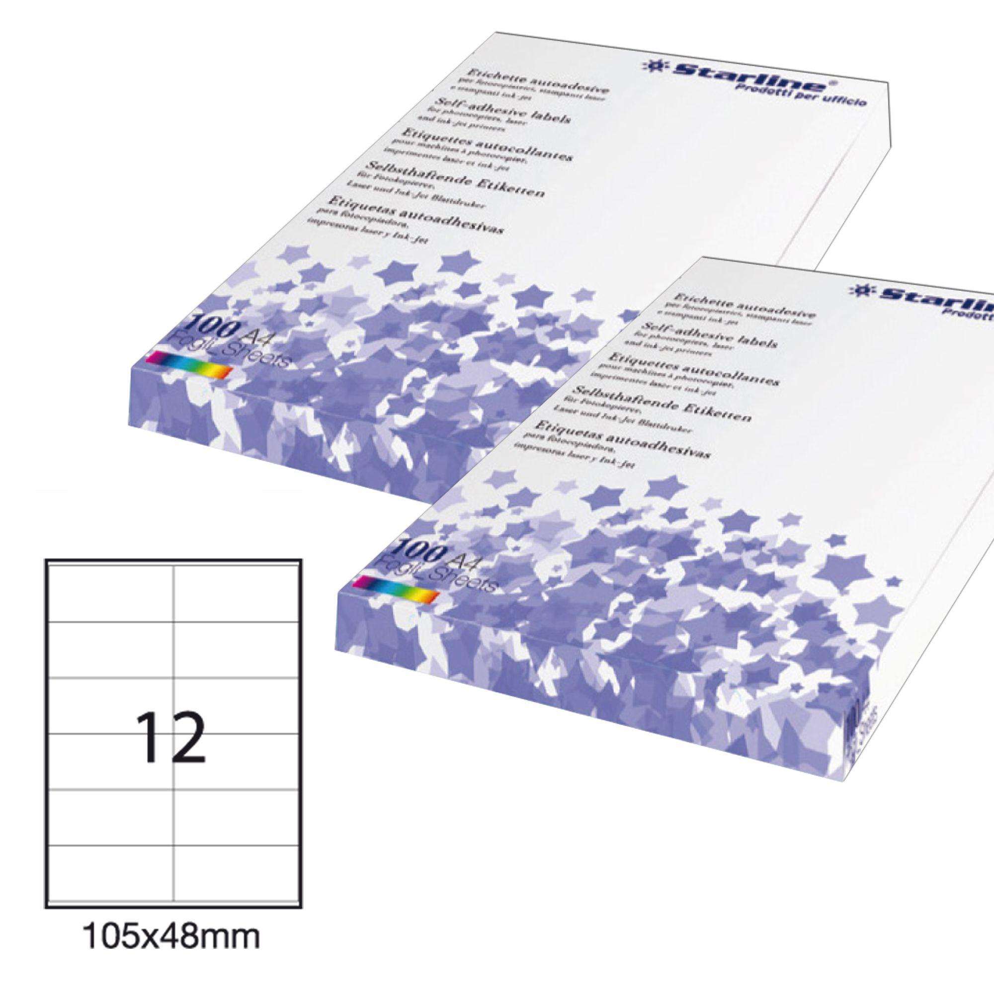 STARLINE etichetta adesiva bianca 100fg a4 starline 8 et. 105x74mm