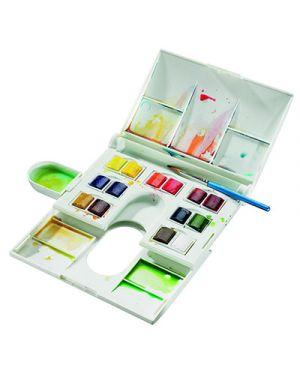 Acquerelli cotman mezzi godet compact 14 colori + pennello e tavolozza 390083