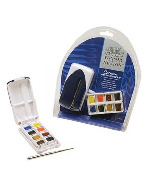 Acquerelli cotman mezzi godet set mini plus 8 colori con mini pennello WINSOR & NEWTON 390396 094376972269 390396