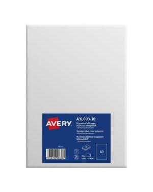 Etichette a3 poliest. autoad. 10ff Avery A3L003-10 5014702086113 A3L003-10