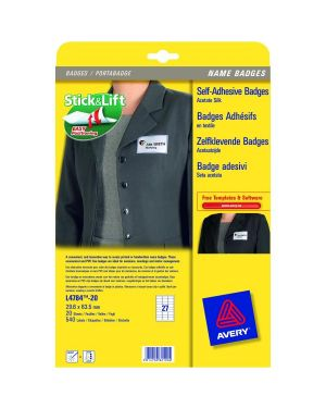 Etichette badge 63 5x29 6 mm Avery L4784-20 5014702821004 L4784-20 by Avery