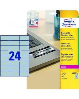 Etichette argento 70x37mm 20ff Avery L6133-20 4004182049839 L6133-20