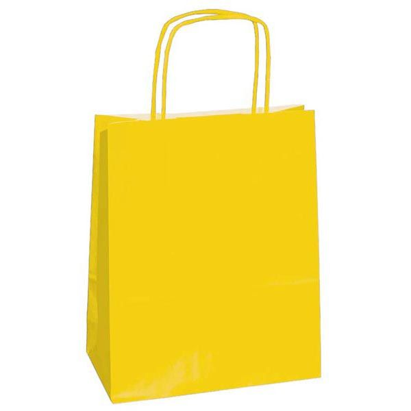 25 shoppers carta kraft 22x10x29cm twisted giallo 37276 8029307037276 37276 by Cartabianca