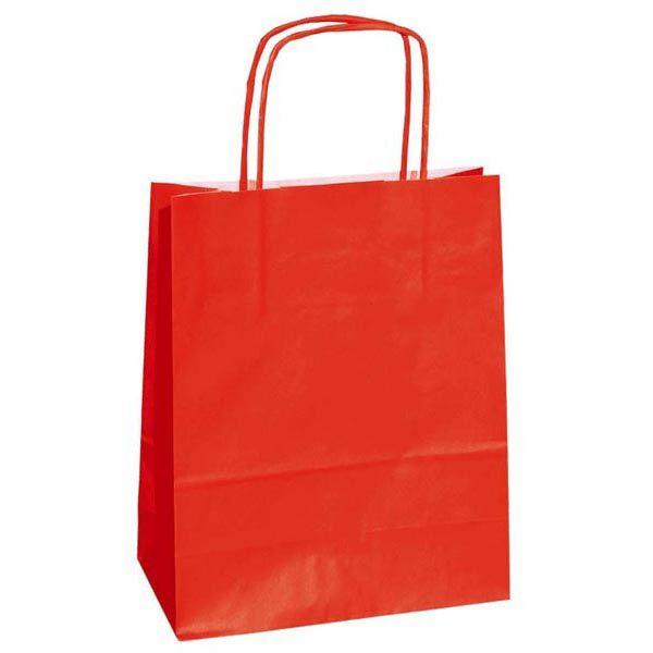 25 shoppers carta kraft 22x10x29cm twisted rosso 37344 8029307037344 37344 by Cartabianca