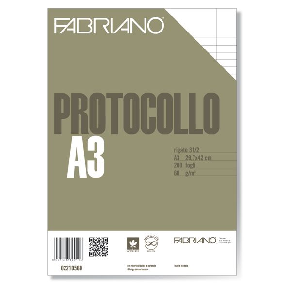 Protocollo a4 1rigo c - margine 200fg 60gr fabriano 2210560 8001348149118 2210560 by Fabriano