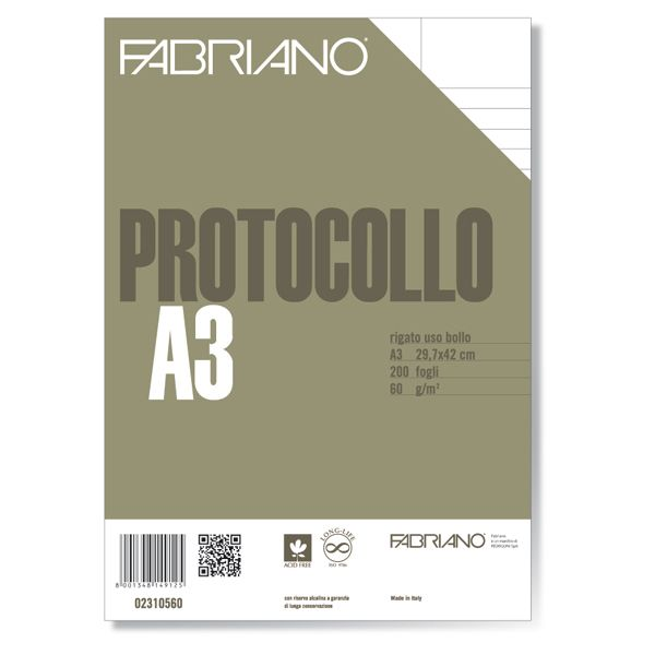 Protocollo a4 uso bollo 200fg 60gr fabriano 2310560 8001348149125 2310560 by Fabriano