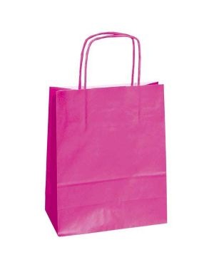 25 shoppers carta kraft 22x10x29cm twisted magenta 37313 8029307037313 37313 by Cartabianca