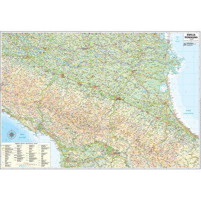 Cartina Geografica Regione Emilia Romagna.Carta Geografica Regione Emilia Romagna 124x85cm
