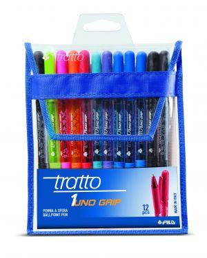 Busta 12 penna sfera tratto 1grip 1,0mm colori assortiti 826800 8000825008849 826800