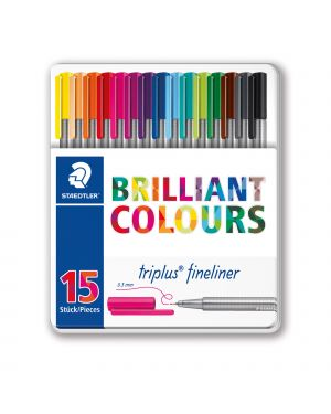 Triplus fineliner brilliant colours punta 0.3mm astuccio da 15 colori staedtler 334M15 4007817337028 334M15-1