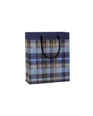 Shopper regalo scozzese blu 23x30x10cm kartos 10726700 84472 A 10726700