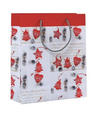 Shopper regalo shabby chic christmas 30x36x12cm kartos 10736600  10736600