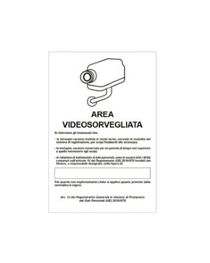 Cartello alluminio 20x30cm 'area videosorveglianza con registrazion' rif.gdpr&#39 33328 8769253332116 33328