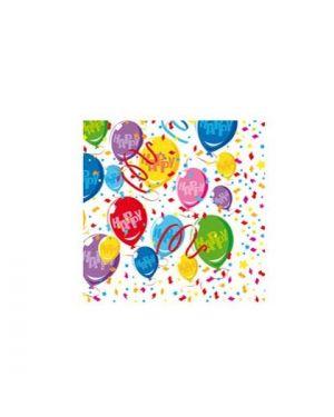 20 tovaglioli happy balloons 33x33cm big party 61223 8020834612233 61223 by No