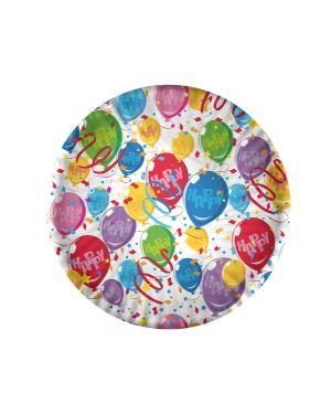 10 piatti carta plastificata happy balloons Ø18cm big party 61221 8020834612219 61221 by No