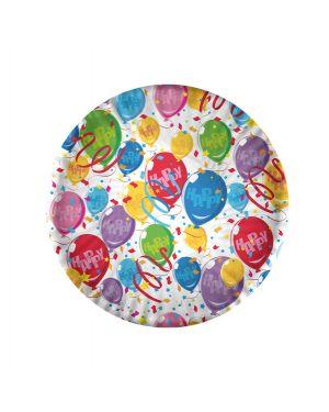 10 piatti carta plastificata happy balloons Ø18cm big party 61221 8020834612219 61221