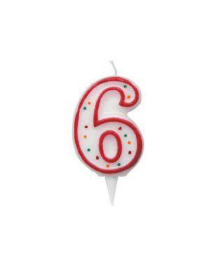 Candelina zuccherino numero 6 - h. 8.5cm big party CC06036 8020834060362 CC06036